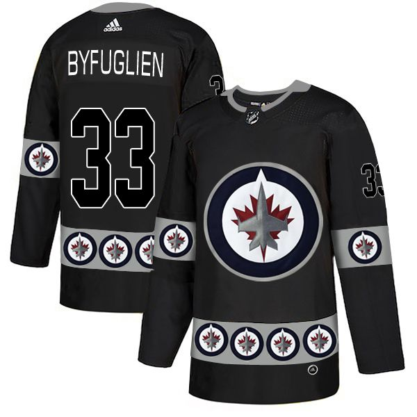 Men Winnipeg Jets 33 Byfuglien Black Adidas Fashion NHL Jersey