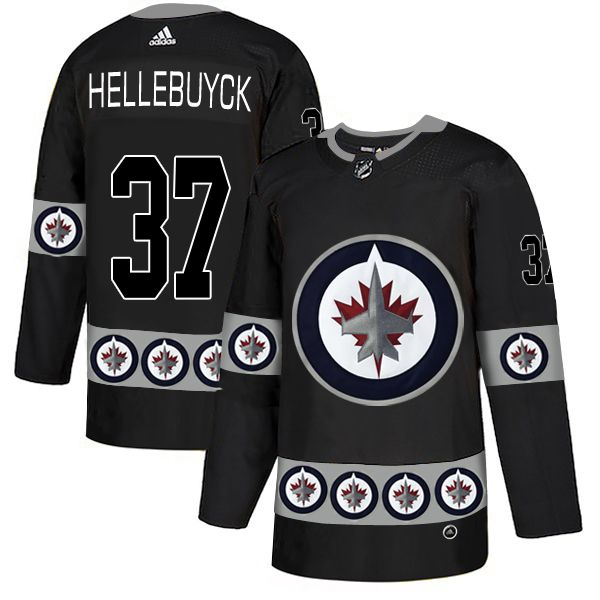 Men Winnipeg Jets 37 Hellebuyck Black Adidas Fashion NHL Jersey