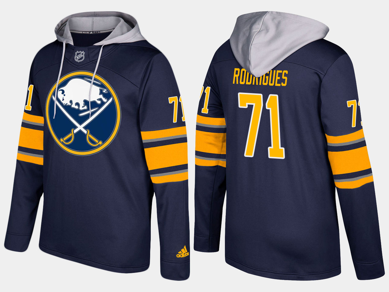 NHL Men Buffalo sabres 71 evan rodrigues blue hoodie