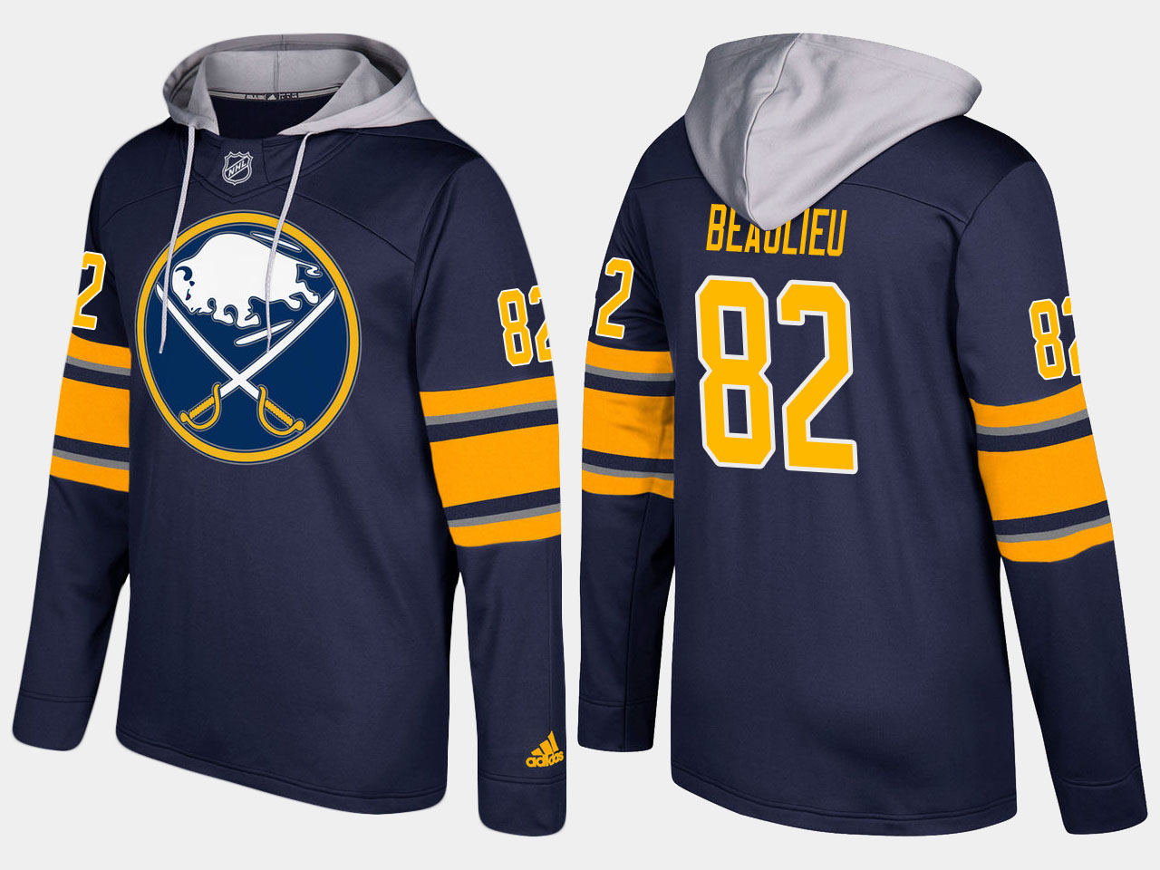 NHL Men Buffalo sabres 82 nathan beaulieu blue hoodie