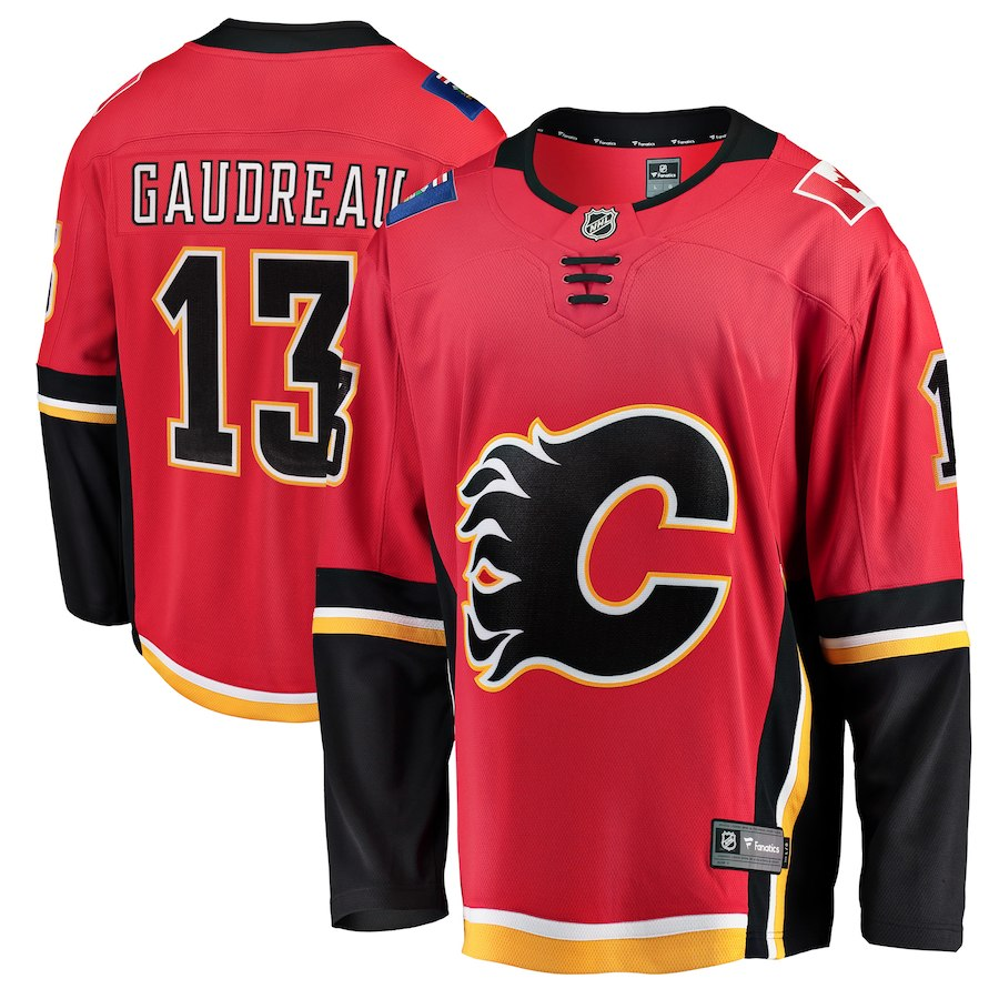 NHL Men Calgary Flames 13 Johnny Gaudreau Red Breakaway Player Jersey