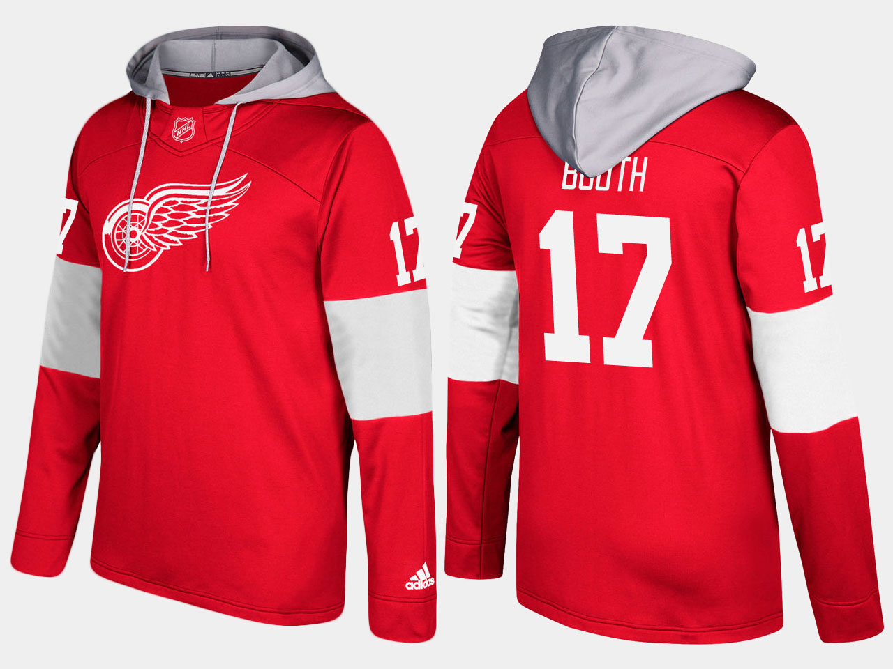 NHL Men Detroit red wings 17 david booth red hoodie