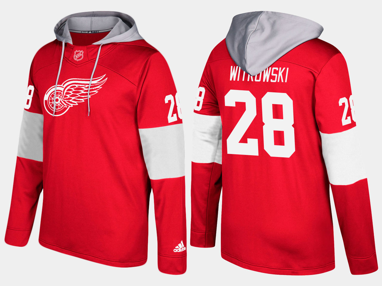 NHL Men Detroit red wings 28 luke witkowski red hoodie