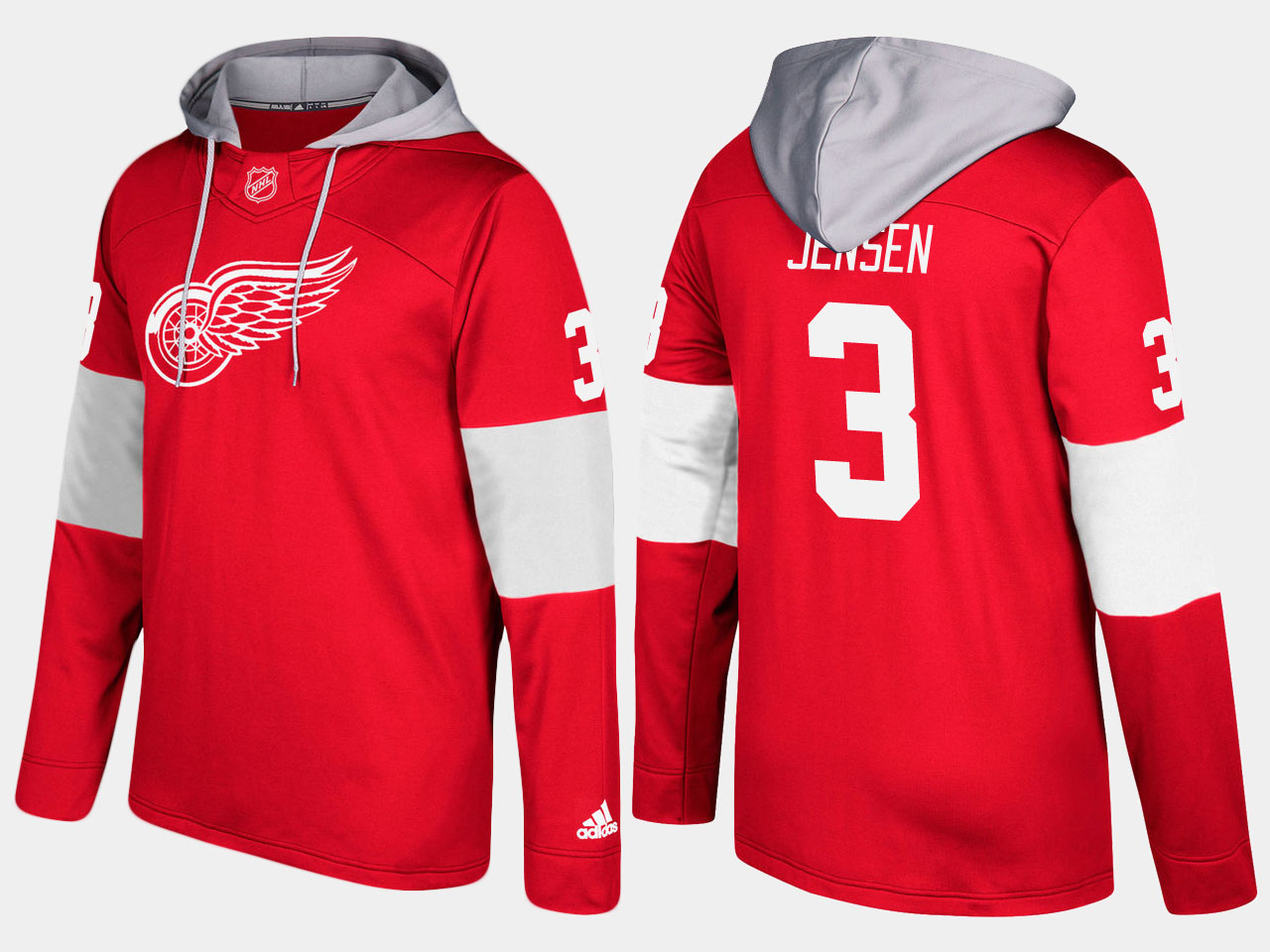 NHL Men Detroit red wings 3 nick jensen red hoodie