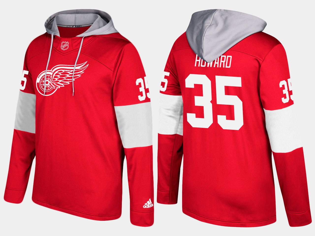 NHL Men Detroit red wings 35 jimmy howard red hoodie