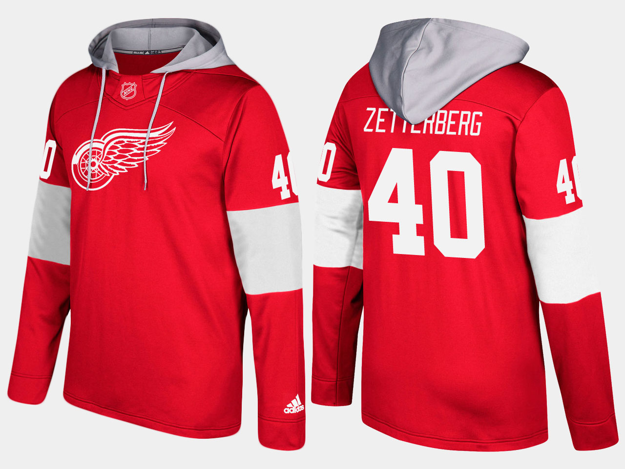 NHL Men Detroit red wings 40 henrik zetterberg red hoodie