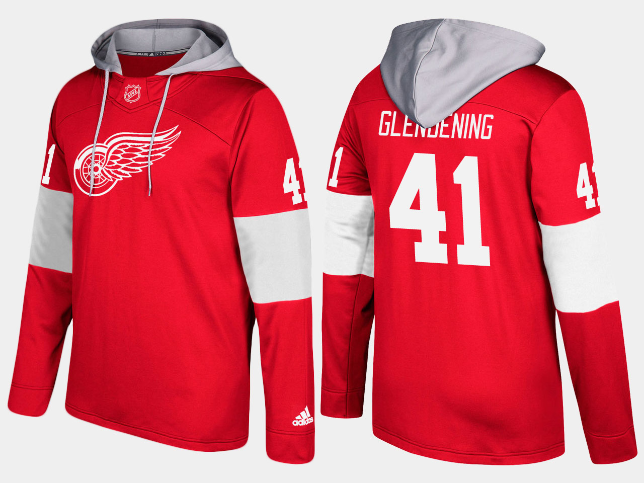 NHL Men Detroit red wings 41 luke glendening red hoodie