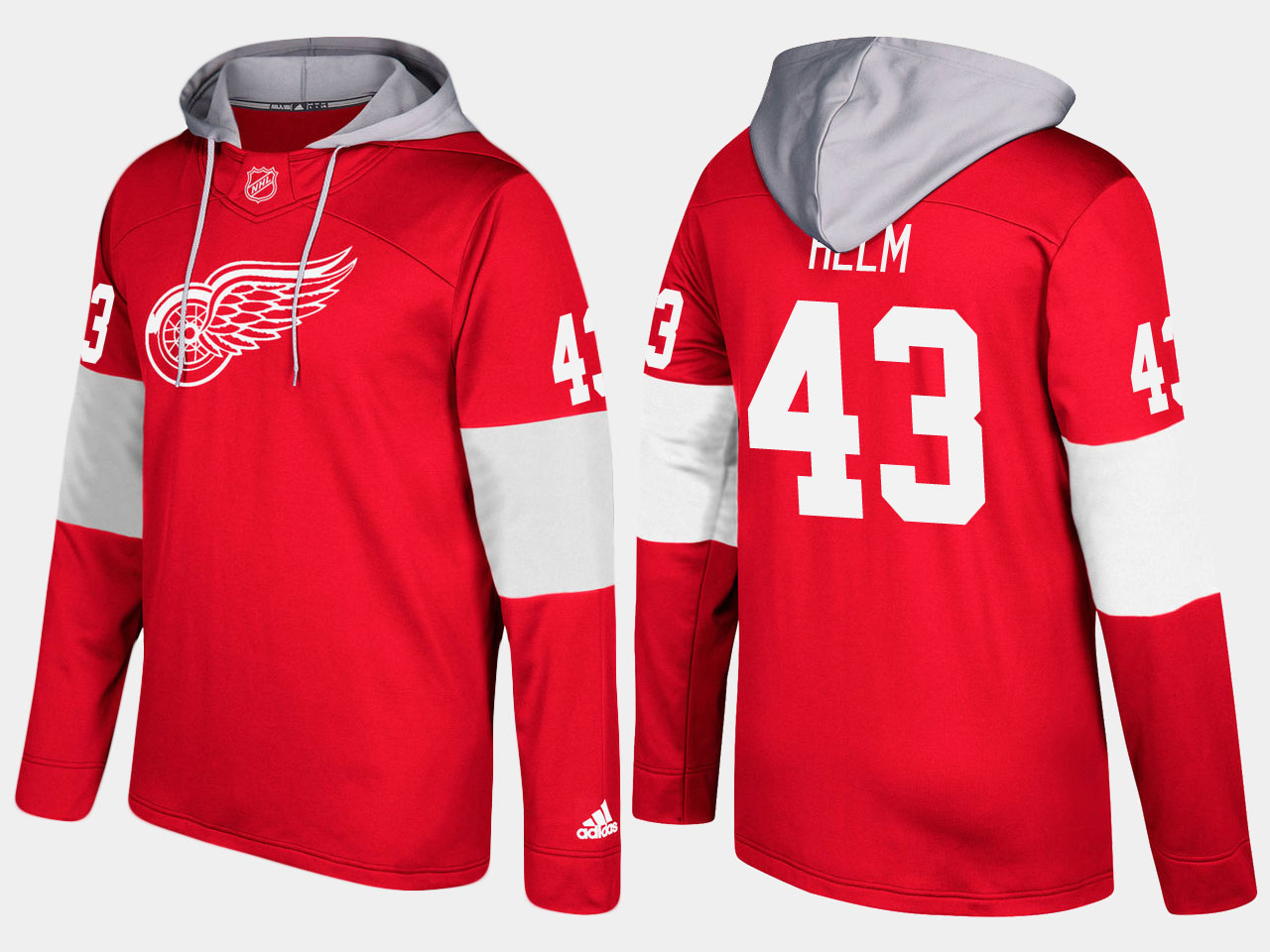 NHL Men Detroit red wings 43 darren helm red hoodie