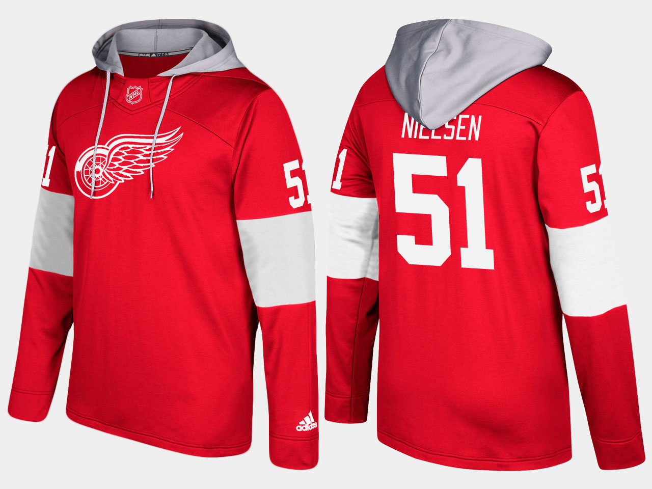 NHL Men Detroit red wings 51 frans nielsen red hoodie