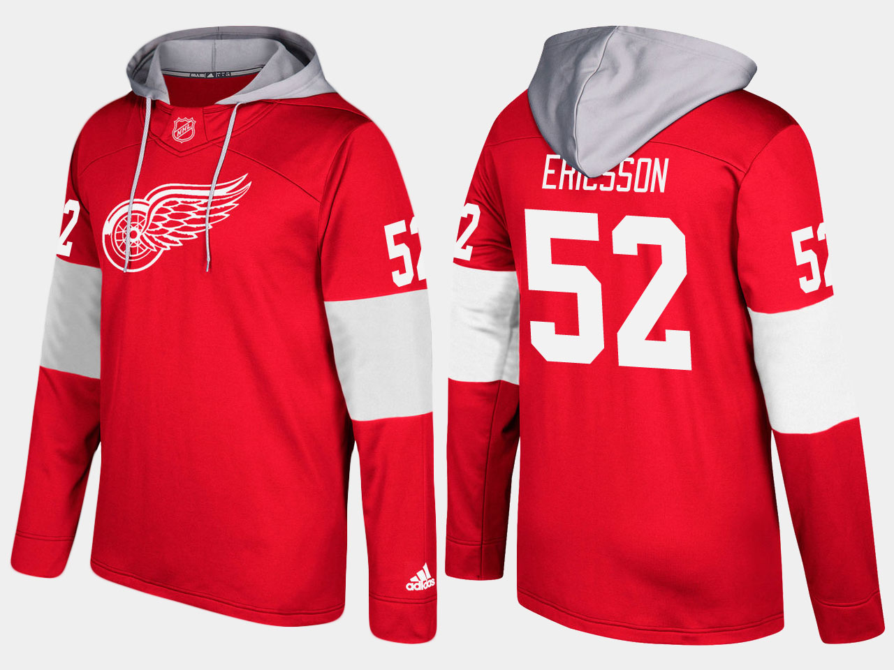 NHL Men Detroit red wings 52 jonathan ericsson red hoodie