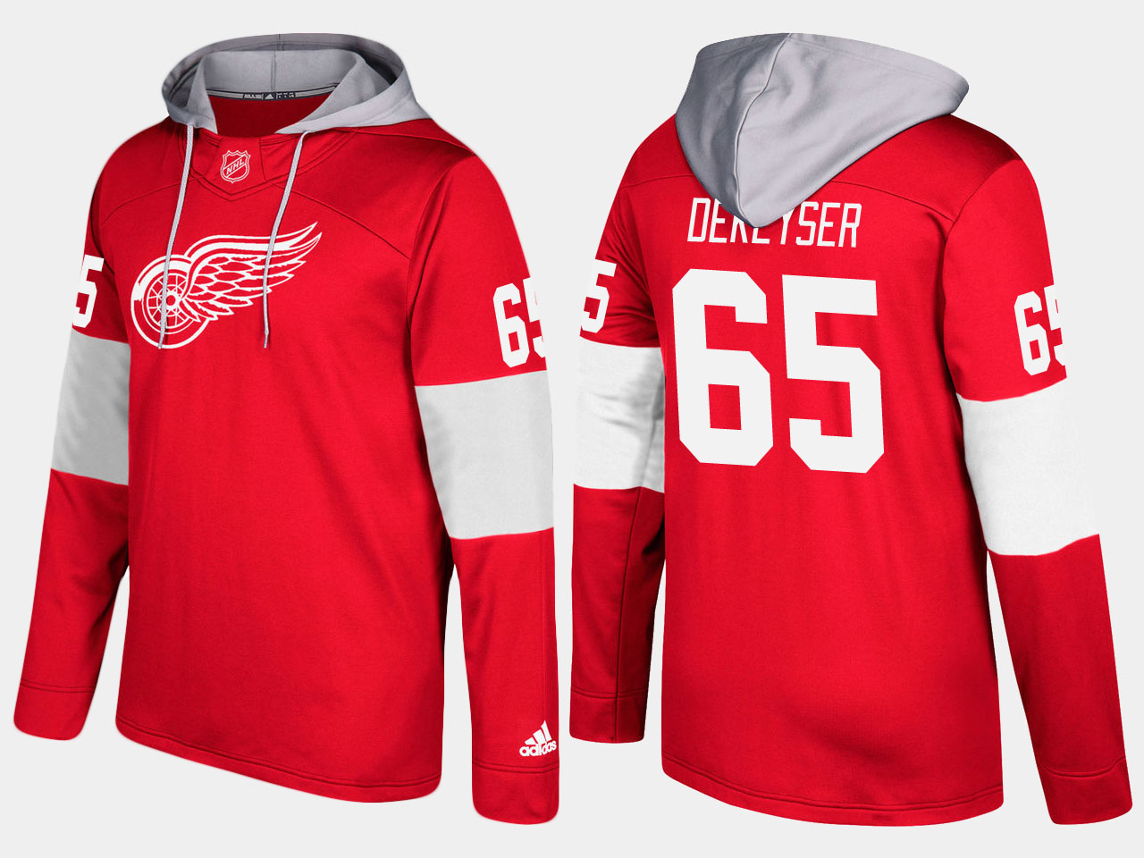 NHL Men Detroit red wings 65 danny dekeyser red hoodie
