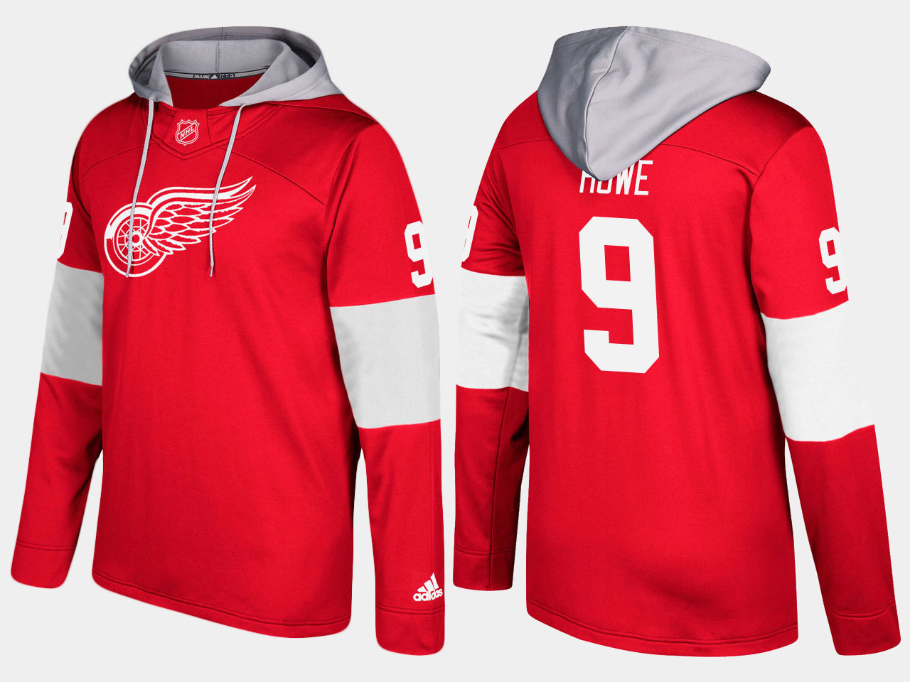 NHL Men Detroit red wings 9 retired gordie howe red hoodie