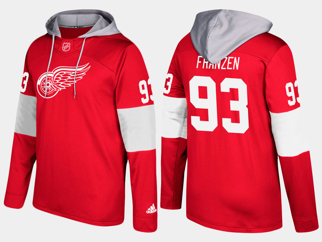 NHL Men Detroit red wings 93 johan franzen red hoodie