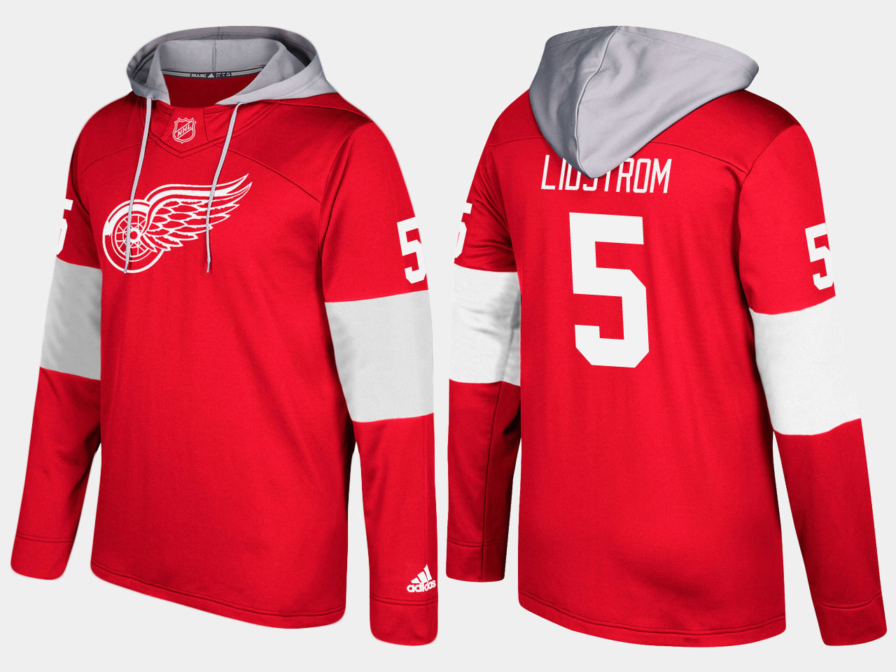NHL Men Detroit red wings retired nicklas lidstrom red hoodie