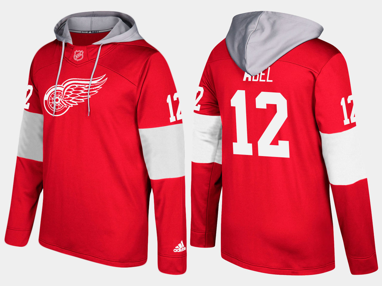 NHL Men Detroit red wings retired sid abel red hoodie