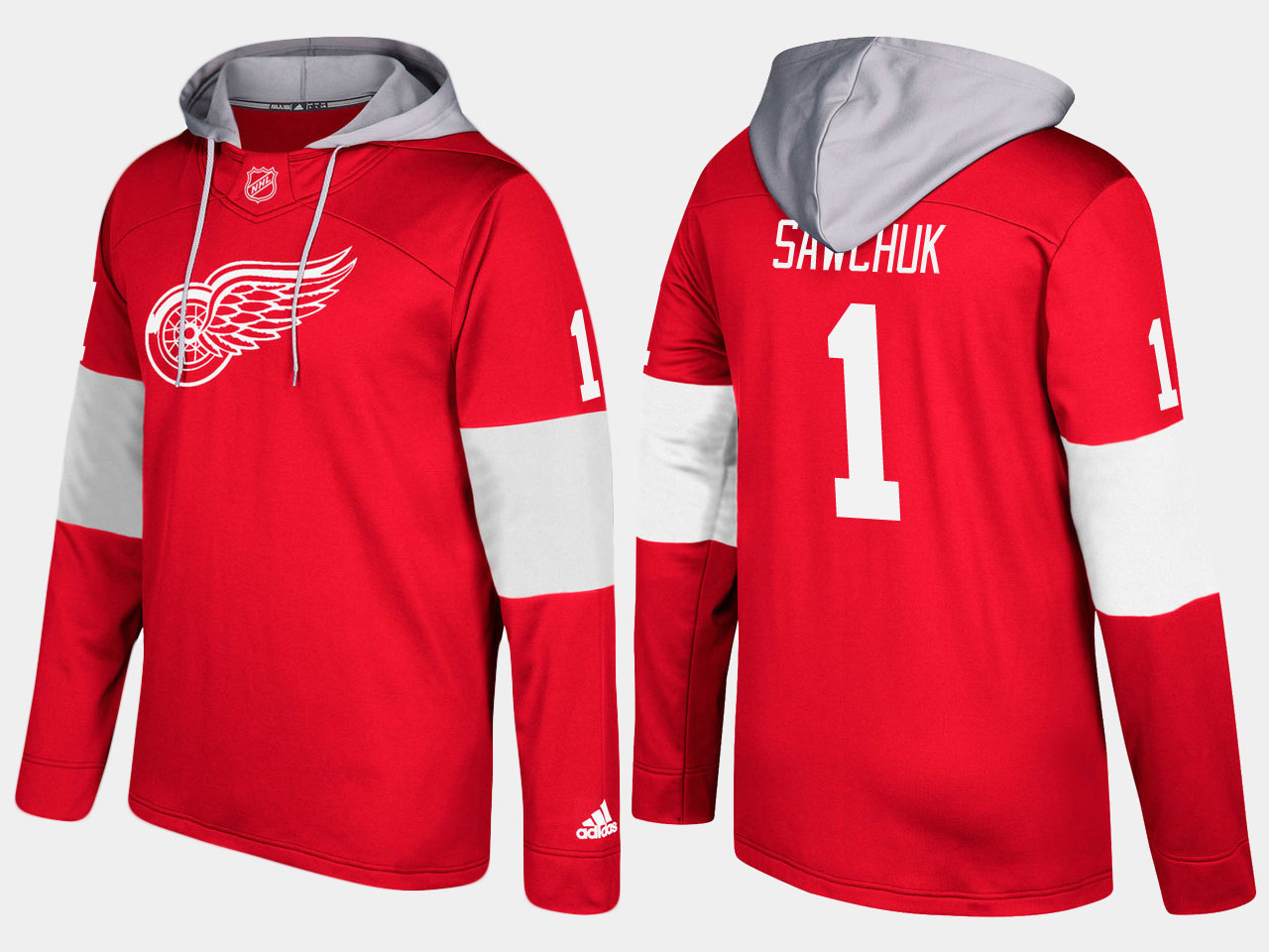 NHL Men Detroit red wings retired terry sawchuk red hoodie