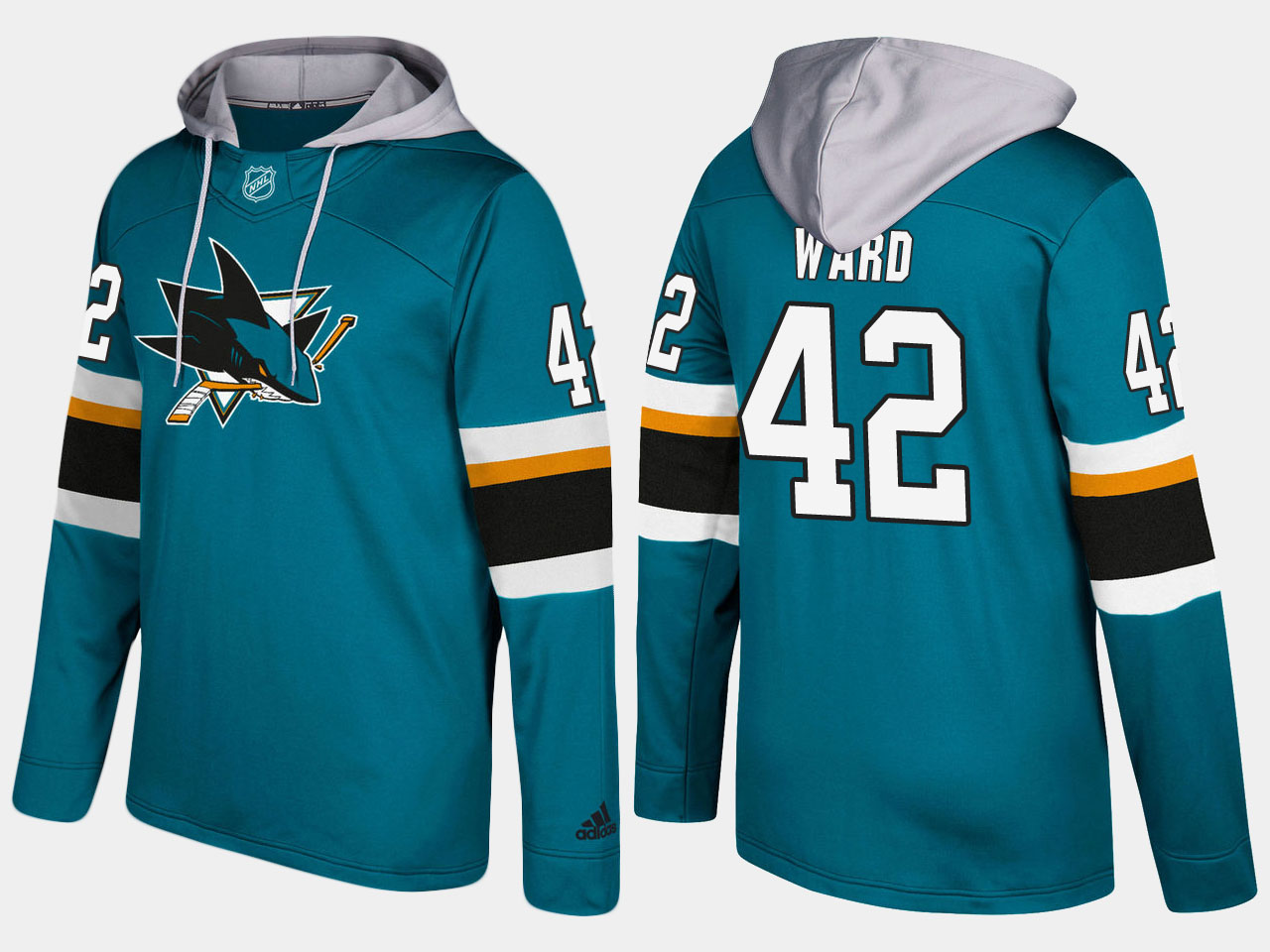 NHL Men San Jose sharks 42 joel ward blue hoodie