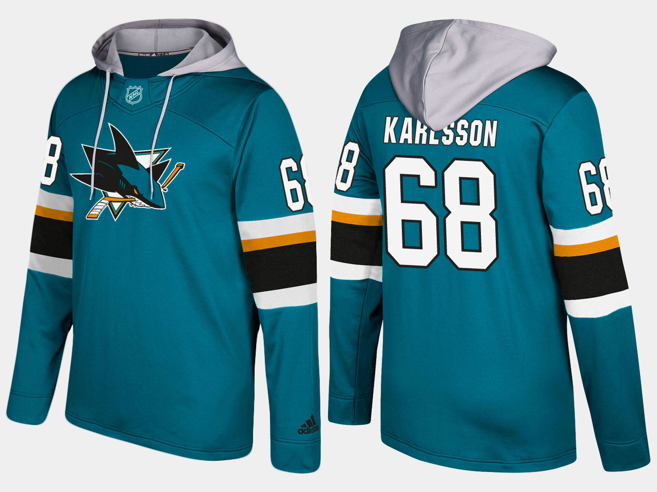 NHL Men San Jose sharks 68 melker karlsson blue hoodie