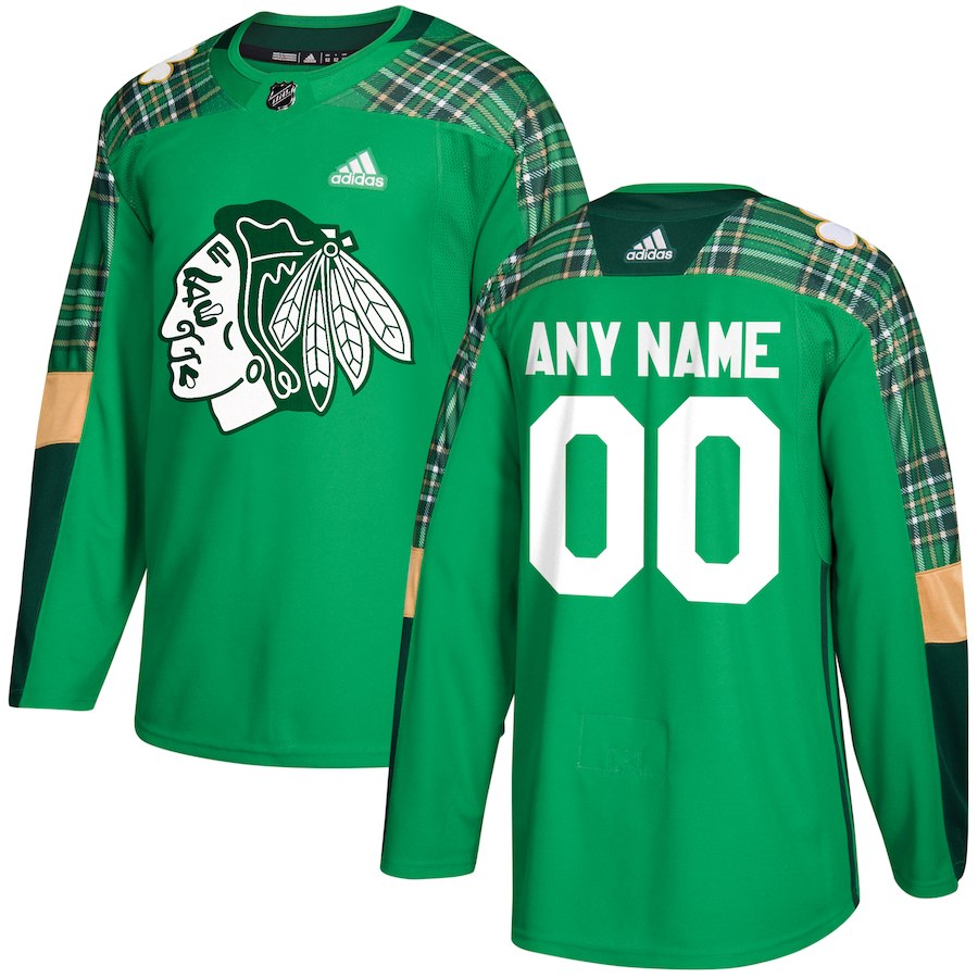 NHL Men adidas Chicago Blackhawks green Authentic Customized Jersey