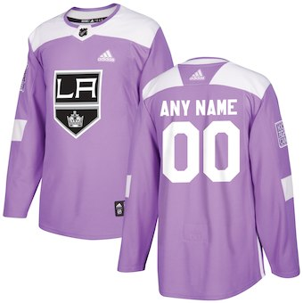 NHL Men adidas Los Angeles Kings Purple Hockey Fights Cancer Customized Practice Jersey