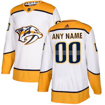 NHL Men adidas Nashville Predators White Away Authentic Customized Jersey