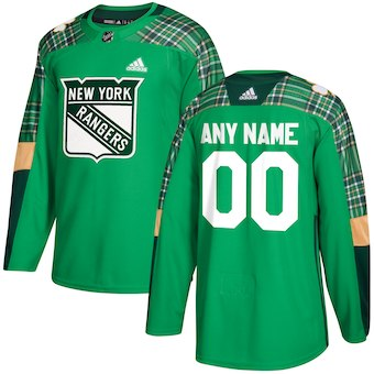 NHL Men adidas New York Rangers Green Custom Practice Jersey