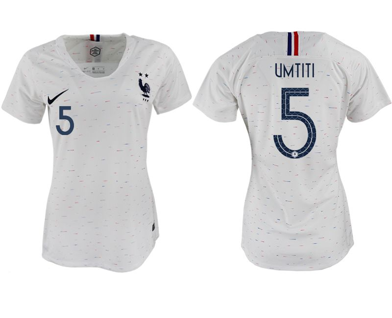Women 2018 World Cup French away aaa version 5 white soccer jerseys
