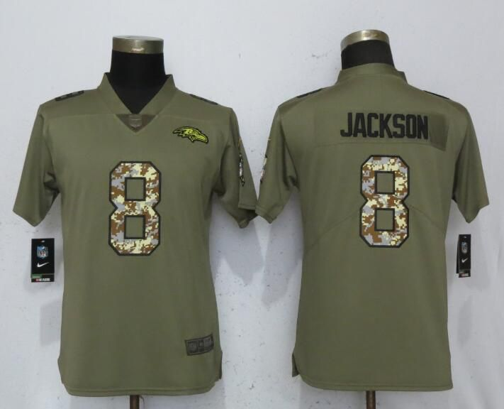Women Baltimore Ravens 8 Jackson Olive Camo Carson Nike Salute to Service Player NFL Jerseys