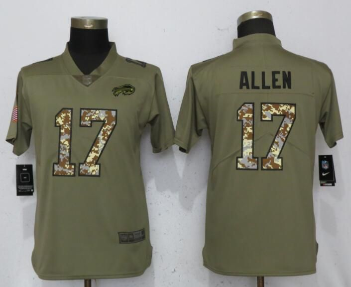 Women Buffalo Bills 17 Allen Olive Camo Carson Nike Salute to Service Player NFL Jerseys