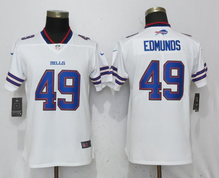 Women Buffalo Bills 49 Edmunds White Nike Vapor Untouchable Limited Playe NFL Jerseys