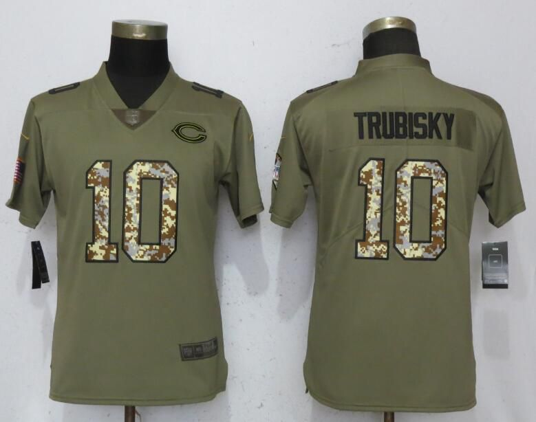 Women Chicago Bears 10 Trubisky Olive Camo Carson Nike Salute to Service Player NFL Jerseys