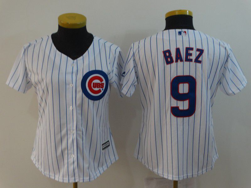 Women Chicago Cubs 9 Baez White MLB Jerseys