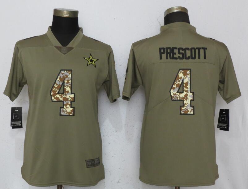 9dfef0b5da1 Women Dallas Cowboys 4 Prescott Olive Camo Carson Nike Salute to Service  Player NFL Jerseys