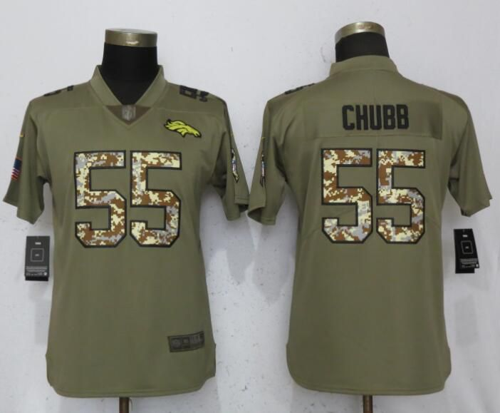 Women Denver Broncos 55 Chubb Olive Camo Carson Nike Salute to Service Player NFL Jerseys
