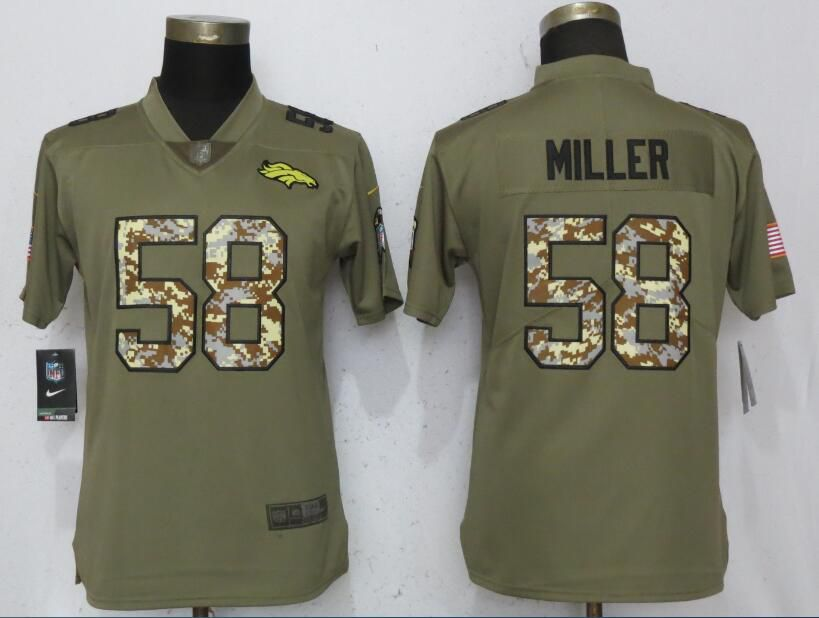 Women Denver Broncos 58 Miller Olive Camo Carson Nike Salute to Service Player NFL Jerseys