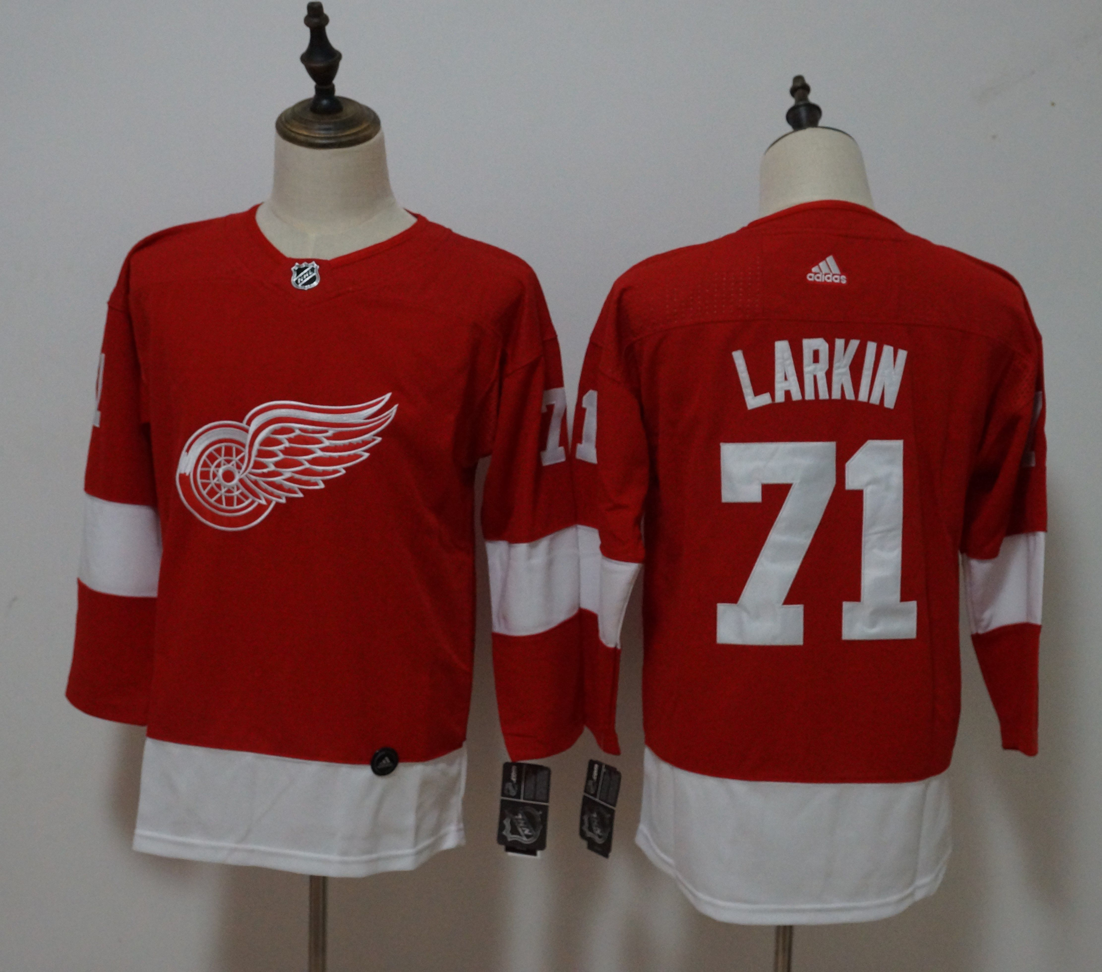 Women Detroit Red Wings 71 Dylan Larkin Red Hockey Stitched Adidas NHL Jerseys