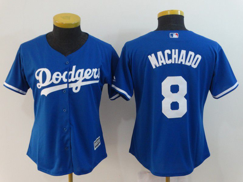 Women Los Angeles Dodgers 8 Machado Blue MLB Jerseys