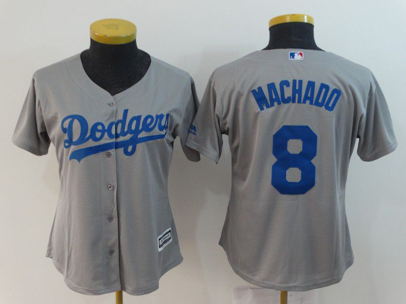 Women Los Angeles Dodgers 8 Machado Grey MLB Jerseys