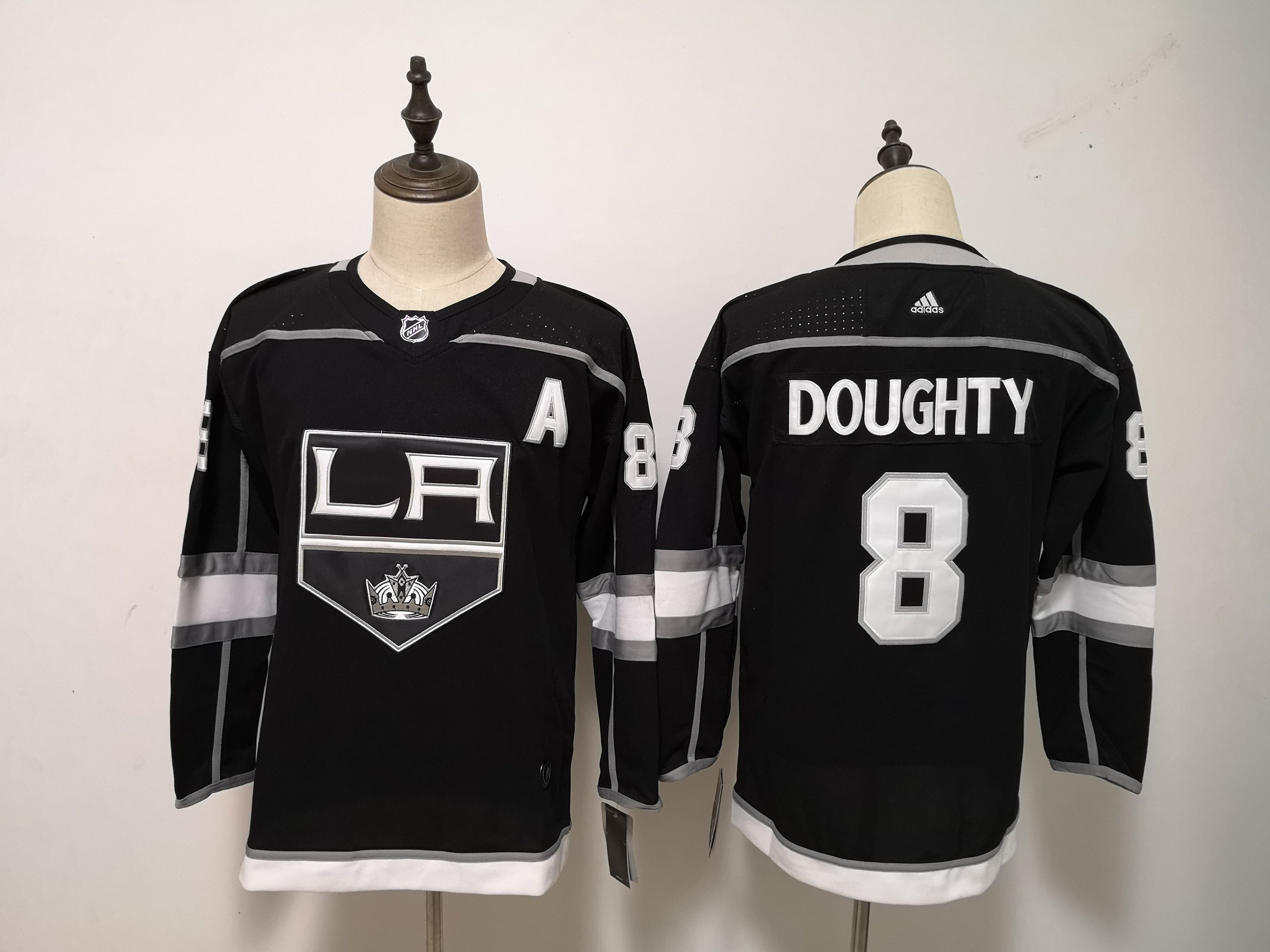 Women Los Angeles Kings 8 Doughty Black Adidas Hockey Stitched NHL Jerseys