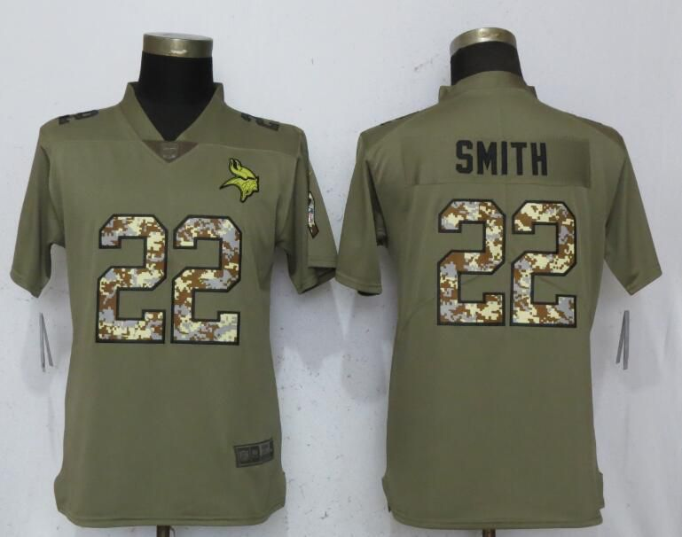 Women Minnesota Vikings 22 Smith Olive Camo Carson Nike Salute to Service Player NFL Jerseys