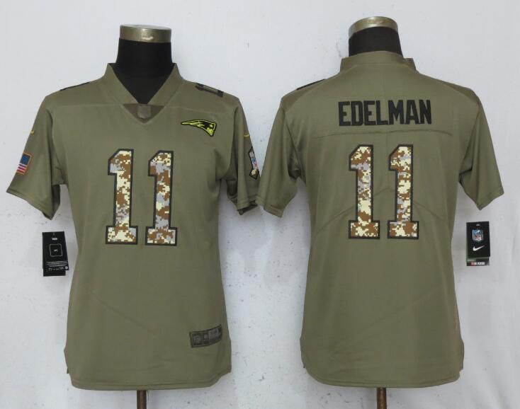 Women New England Patriots 11 Edelman Olive Camo Carson Nike Salute to Service Player NFL Jerseys