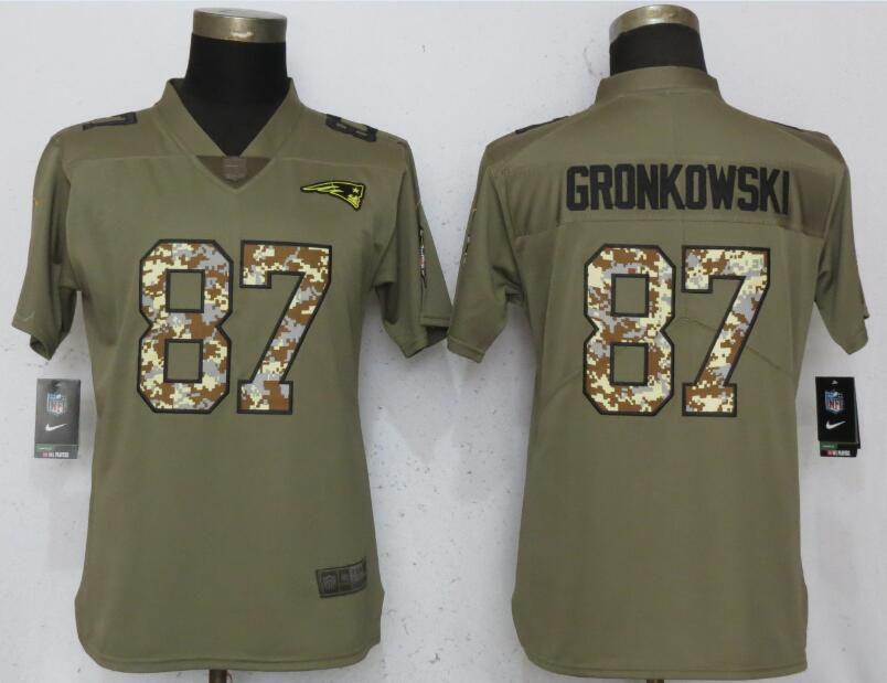 Women New England Patriots 87 Gronkowski Olive Camo Carson Nike Salute to  Service Player NFL Jerseys baba2daa7