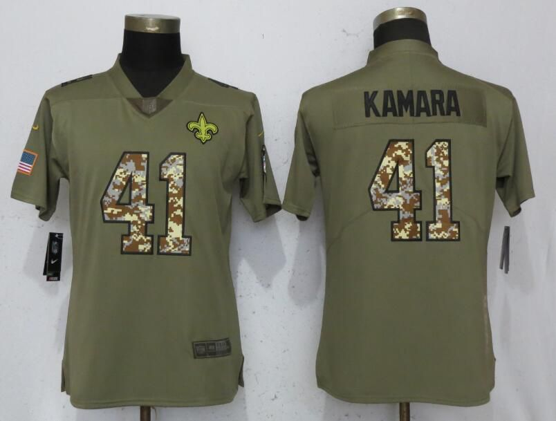 Women New Orleans Saints 41 Kamara Olive Camo Carson Nike Salute to Service Player NFL Jerseys