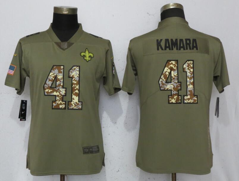 Women New Orleans Saints 41 Kamara Olive Camo Carson Nike Salute to Service  Player NFL Jerseys 1d8605142