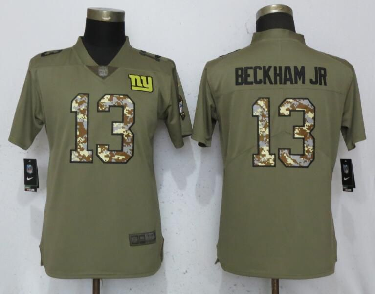 Women New York Giants 13 Beckham jr Olive Camo Carson Nike Salute to Service Player NFL Jerseys