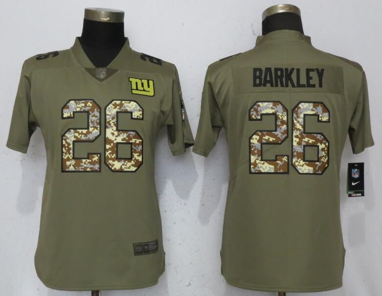 Women New York Giants 26 Barkley Olive Camo Carson Nike Salute to Service Player NFL Jerseys