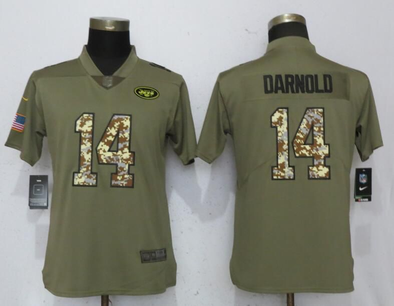 Women New York Jets 14 Darnold Olive Camo Carson Nike Salute to Service Player NFL Jerseys