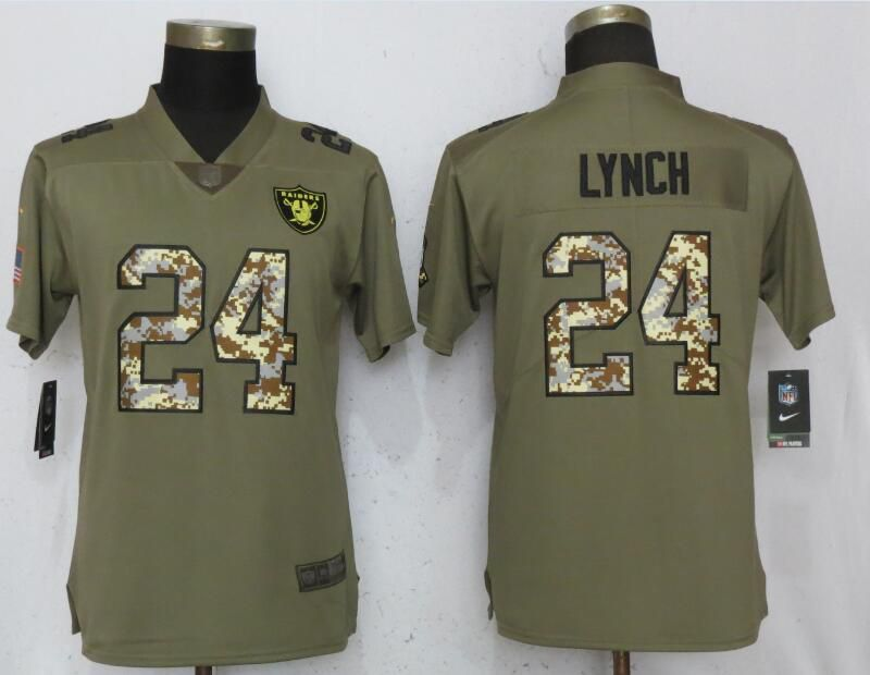 Women Oakland Raiders 24 Lynch Olive Camo Carson Nike Salute to Service Player NFL Jerseys
