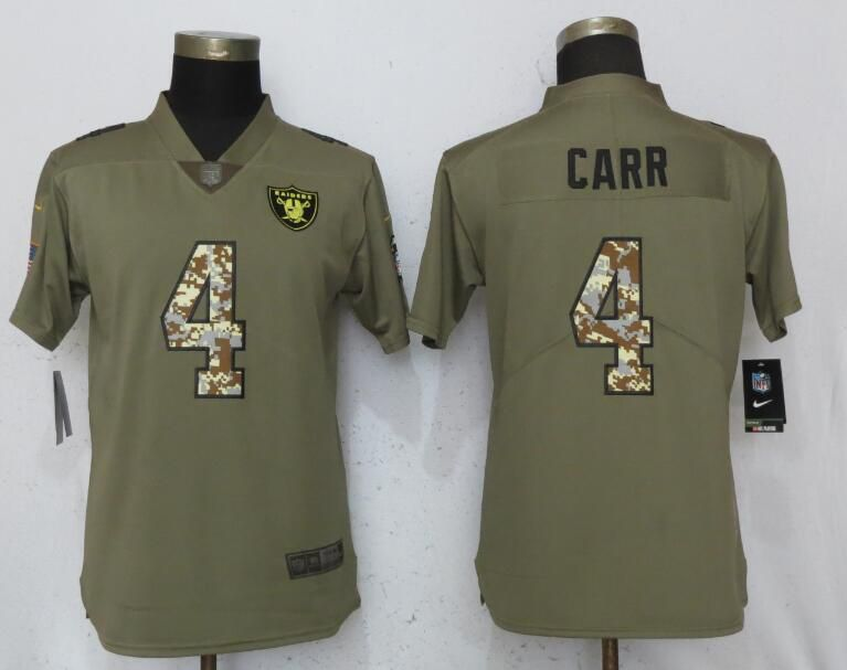 Women Oakland Raiders 4 Carr Olive Camo Carson Nike Salute to Service Player NFL Jerseys