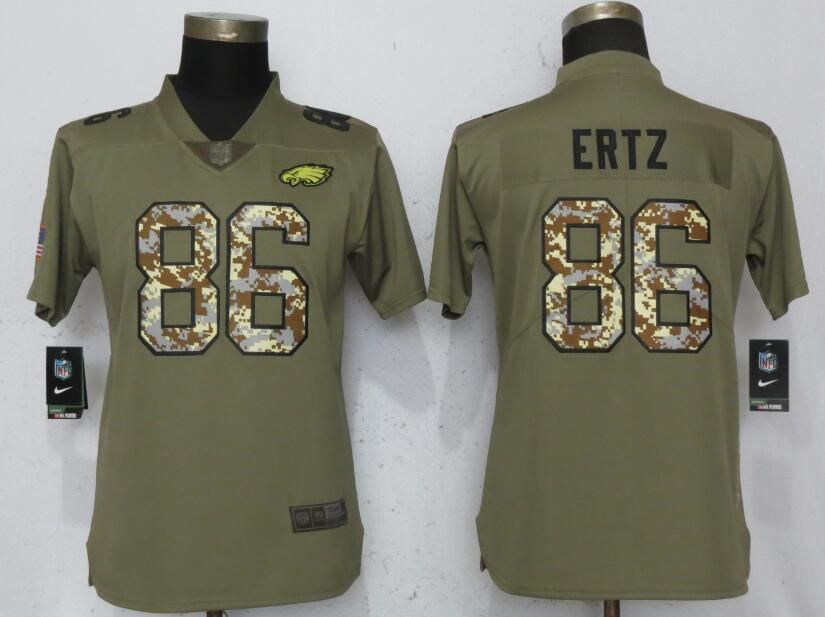 Women Philadelphia Eagles 86 Ertz Olive Camo Carson Nike Salute to Service Player NFL Jerseys